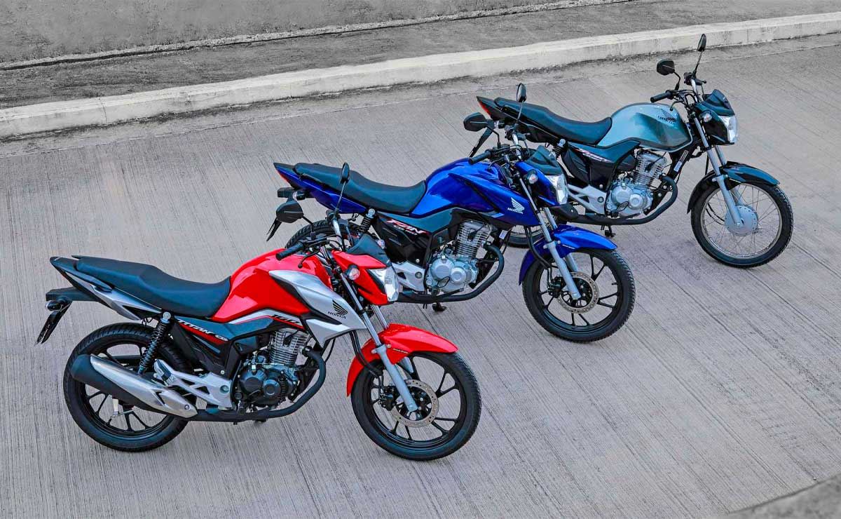 Honda CG 160 titan roja fan azul start gris vista superior