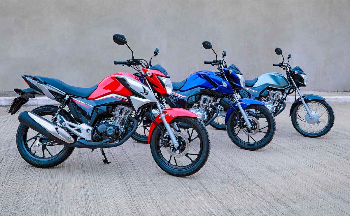 Honda CG 160 titan roja fan azul start gris