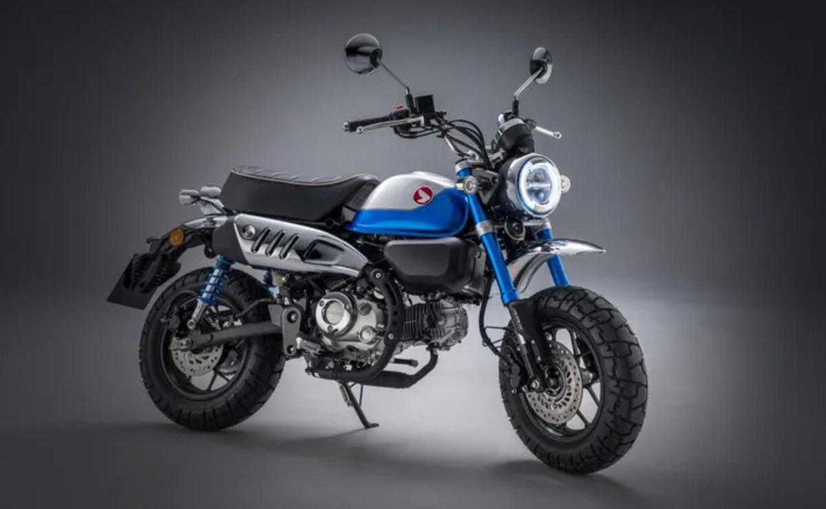 Honda Monkey 125 2022 azul fondo gris