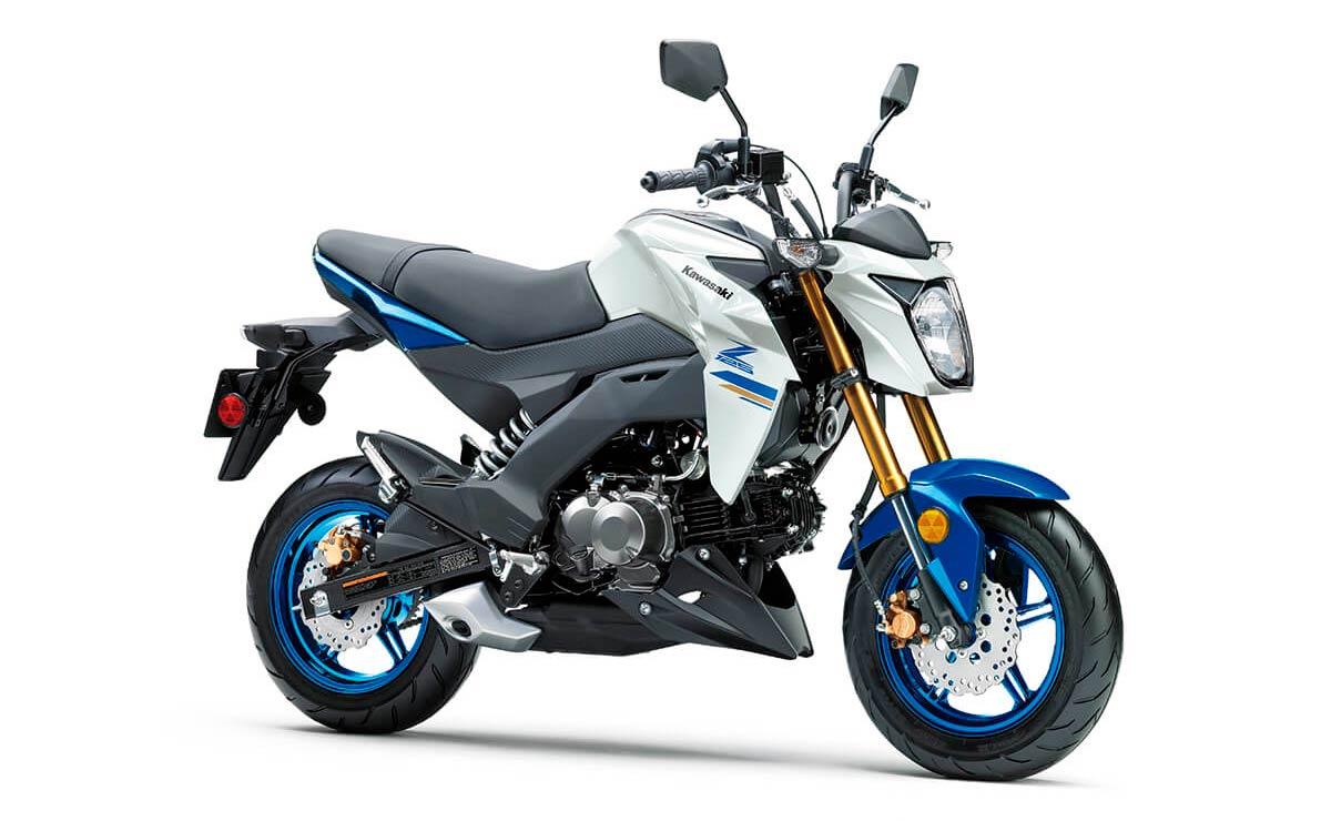 Kawasaki Z125 Pro blanca y azul lateral izquierdo frontal
