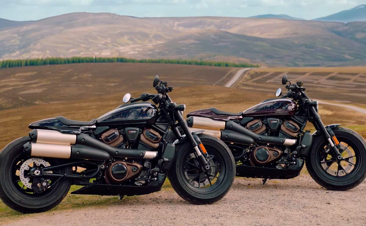 Harley-Davidson Sportster S 2021 negra y marrón paisaje