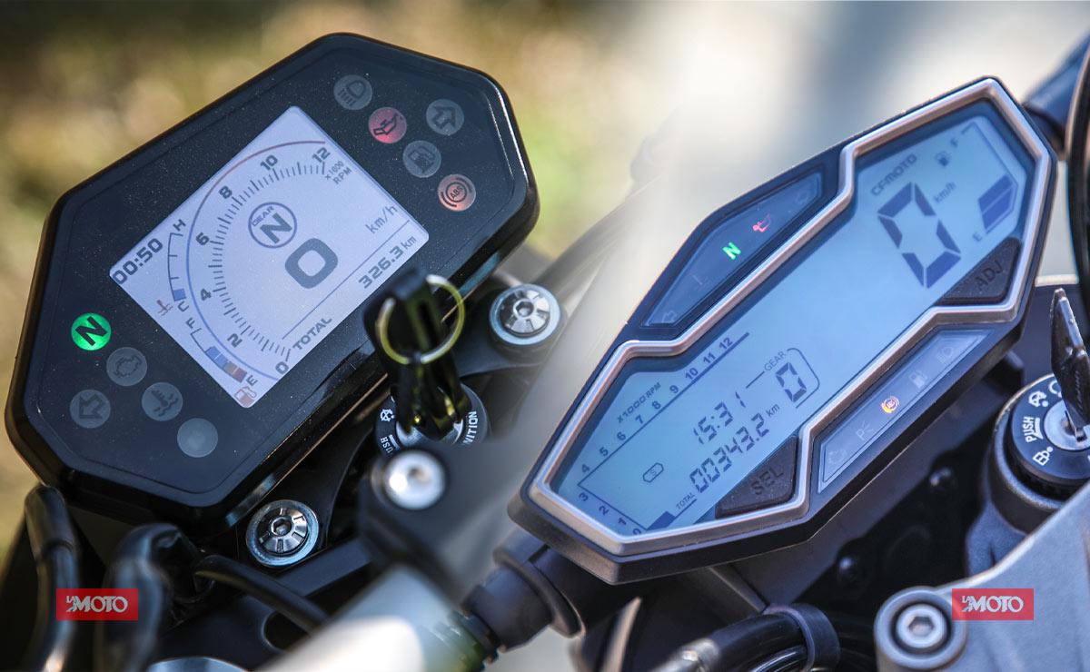 Benelli 302S vs CFMoto RZ400 comparativa paneles instrumentales