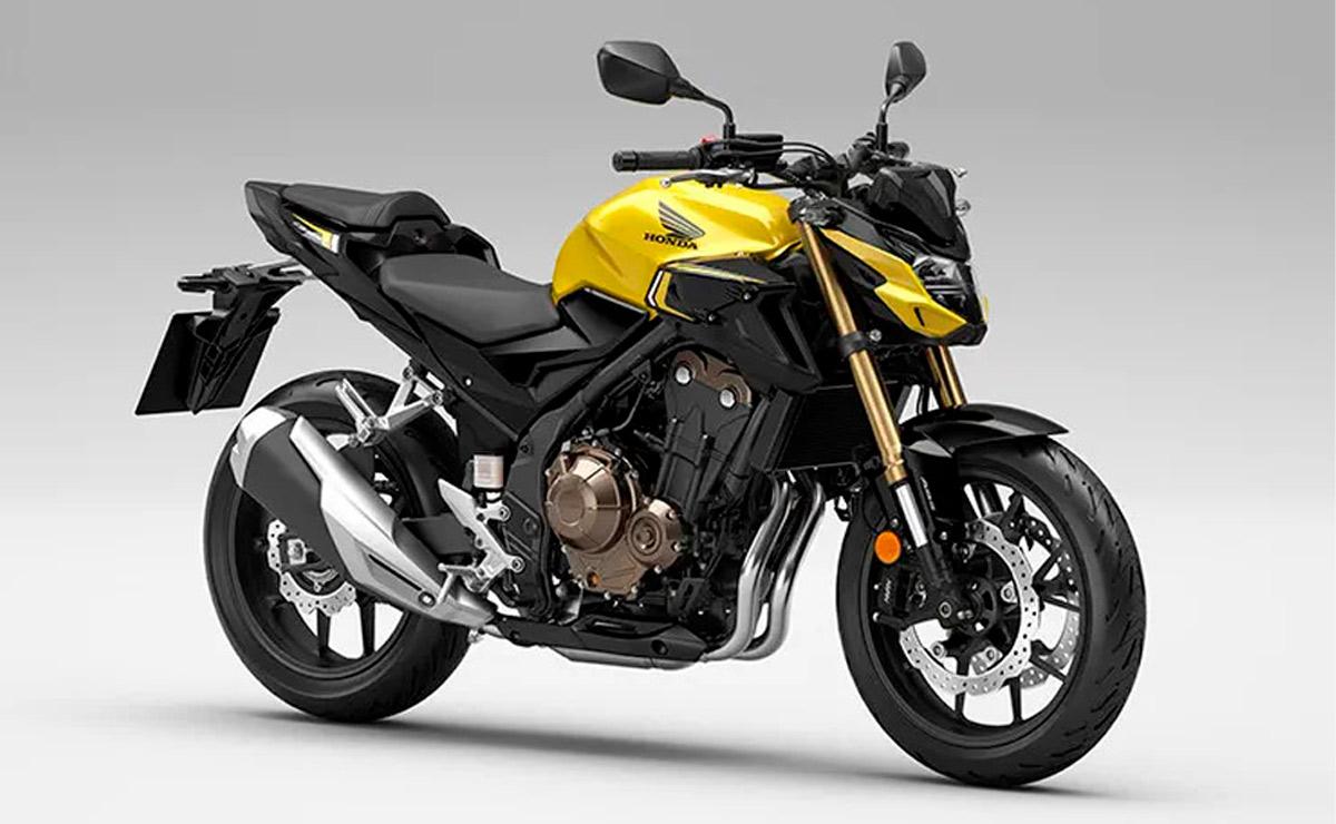 Honda CB500F 2022 amarilla lateral derecho frontal