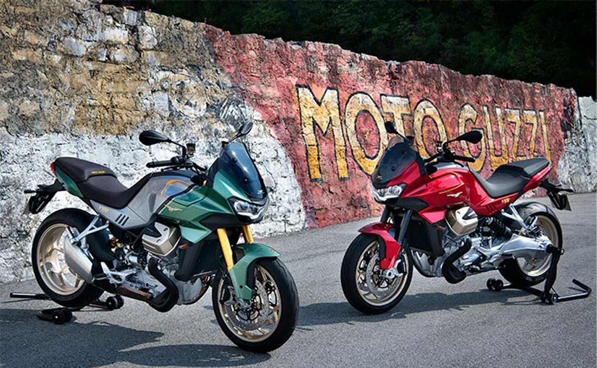 Moto Guzzi V100 Mandello 2022 colores verde y rojo