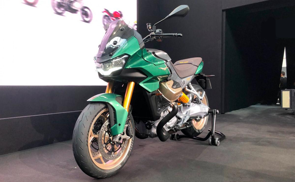 Moto Guzzi V100 Mandello 2022 verde presentación