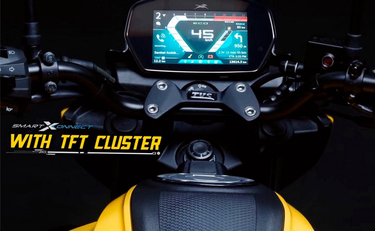 TVS Raider naked deportiva 125cc detalle panel TFT
